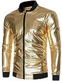 ZEROYAA Mens Hipster Geek Metallic Shinny Solid Paisley Floral Slim Fit Zip up Baseball Varsity Bomber Jacket Z47 Gold Medium