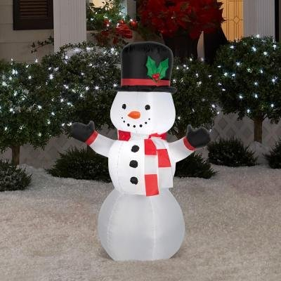Gemmy Airblown Inflatable Snowman Wearing Red and White Striped Scarf- Indoor Outdoor Holiday decoration, 3.5-foot (Bumble The Abominable Snowman Costume)