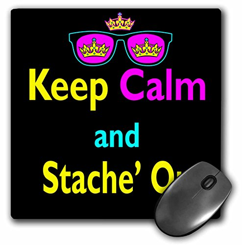 3dRose Dooni Designs CMYK Hipster Designs - CMYK Keep Calm Parody Hipster Crown And Sunglasses Keep Calm And Stache Mustache On - MousePad (mp_116819_1) ()