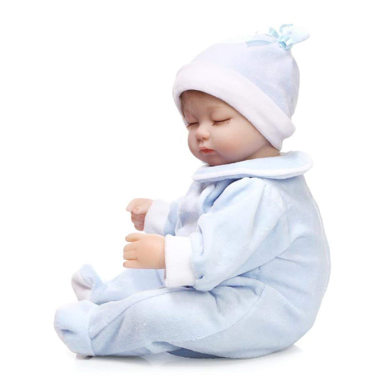 JullyeleDEgant Voller Silikon-Körper Reborn Babypuppe Spielzeug Realistische Neugeborenen Babies Puppe mit Milchflasche Beste Geburtstagsgeschenk