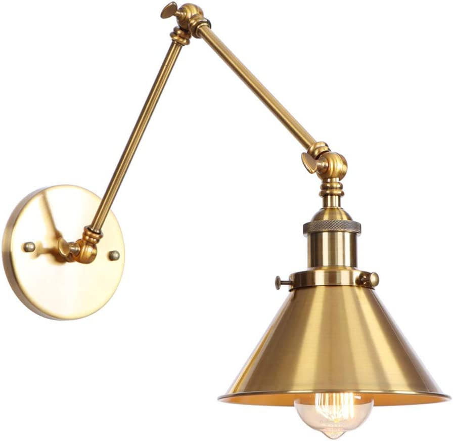 ATC Wall Sconce Lighting 2 Arm Adjutment Industrial Retro Loft Style Vintage Wall Lamp Luminaire Fixture (Bulbs Not Included) for Home Cafe Bar Décor