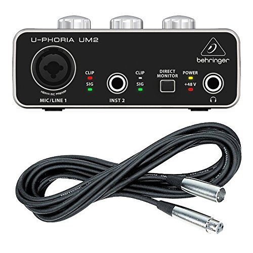 Behringer UM2 plus XLR Mic Cable U-PHORIA Audio Interface XENYX Mic Preamp
