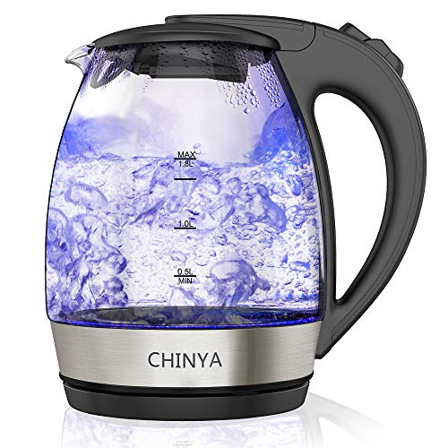 Electric Kettle, 1.8L Glass Tea Kettle, Fast Kettle and Cordless Water Kettle with Auto Shut-Off, and Boil-Dry Protection [BPA-Free, FDA/ETL Approved]