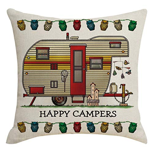 OUBAO Sofa Pillow Covers Cases Protector Decorative Pillowcase Sets,Cushion Cover,Throw Pillow Covers Happy Camper Picnic Car Text Decoration Linen Pillowcase Household Items Waist Throw Cushion ()