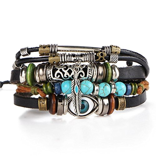 Creazrise Clearance! Unisex Multilayer Bracelet,Handmade Braided Leather Blue Eye Vintage Hollow Carved Bangles - Turtle Stack