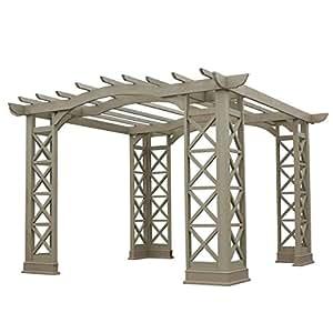 Yardistry Arched Roof Pergola Gazebos with Plinth, Grey