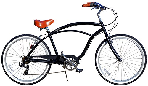 Fito Men's Marina Aluminum Alloy 7-Speed Beach Cruiser Bike, Black/Brown, 18
