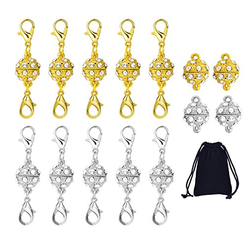 Sumind 10 Pieces Magnetic Jewelry Clasps (Rhinestone Ball Style with Lobster Clasp) and 4 Pieces Rhinestone Magnetic Beads for Jewelry Necklace Bracelet, Gold and (Rhinestone Ball Clasp)