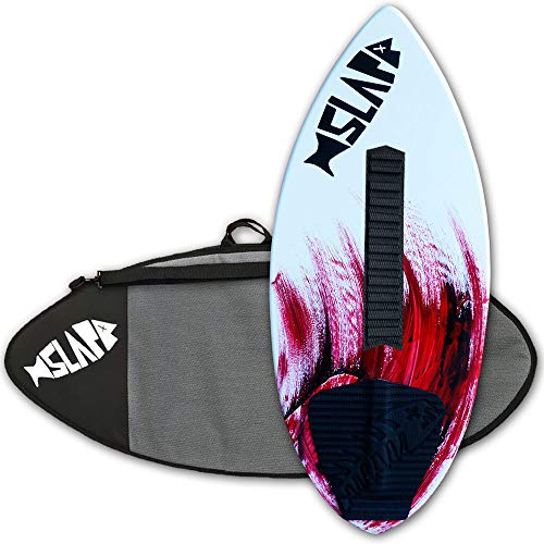 "Slapfish Skimboards - Fiberglass & Carbon - Riders up to 200 lbs - 48"" with Traction Deck Grip - Kids & Adults - 4 Colors (Red + Bag + Arch)"