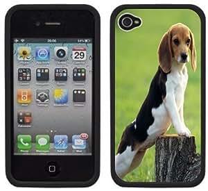 Beagle Dog Puppy Handmade iPhone 4 4S Black Hard Plastic Case
