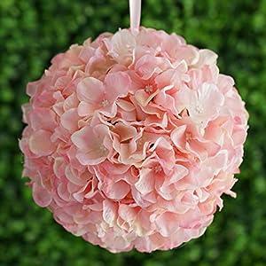 "4 pcs 7"" Artificial Hydrangea Kissing Flower Ball Wedding Decorations Bouquets (Blush) 101"