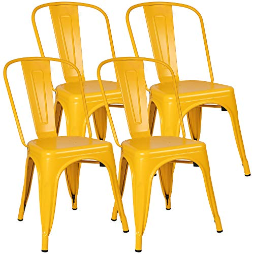 Furniwell Metal Dining Chairs Indoor-Outdoor Use Stackable Kitchen Chair Trattoria Side Chic Dining Bistro Cafe Chairs with Back Set of 4 (Yellow)