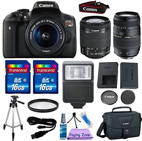 Zoom Canon Eos Digital Slr (Canon EOS Rebel T6i 24.2 MP EF-S Digital SLR Camera with Canon EF-S 18-55mm f/3.5-5.6 STM Zoom Lens + Tamron 70-300mm Lens + 2pc - 16GB Class 10 Memory Cards)