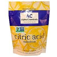 Ácido cítrico verificado para proyectos sin OGM - 1 libra - Orgánico, 100% puro - Alpha Chemicals