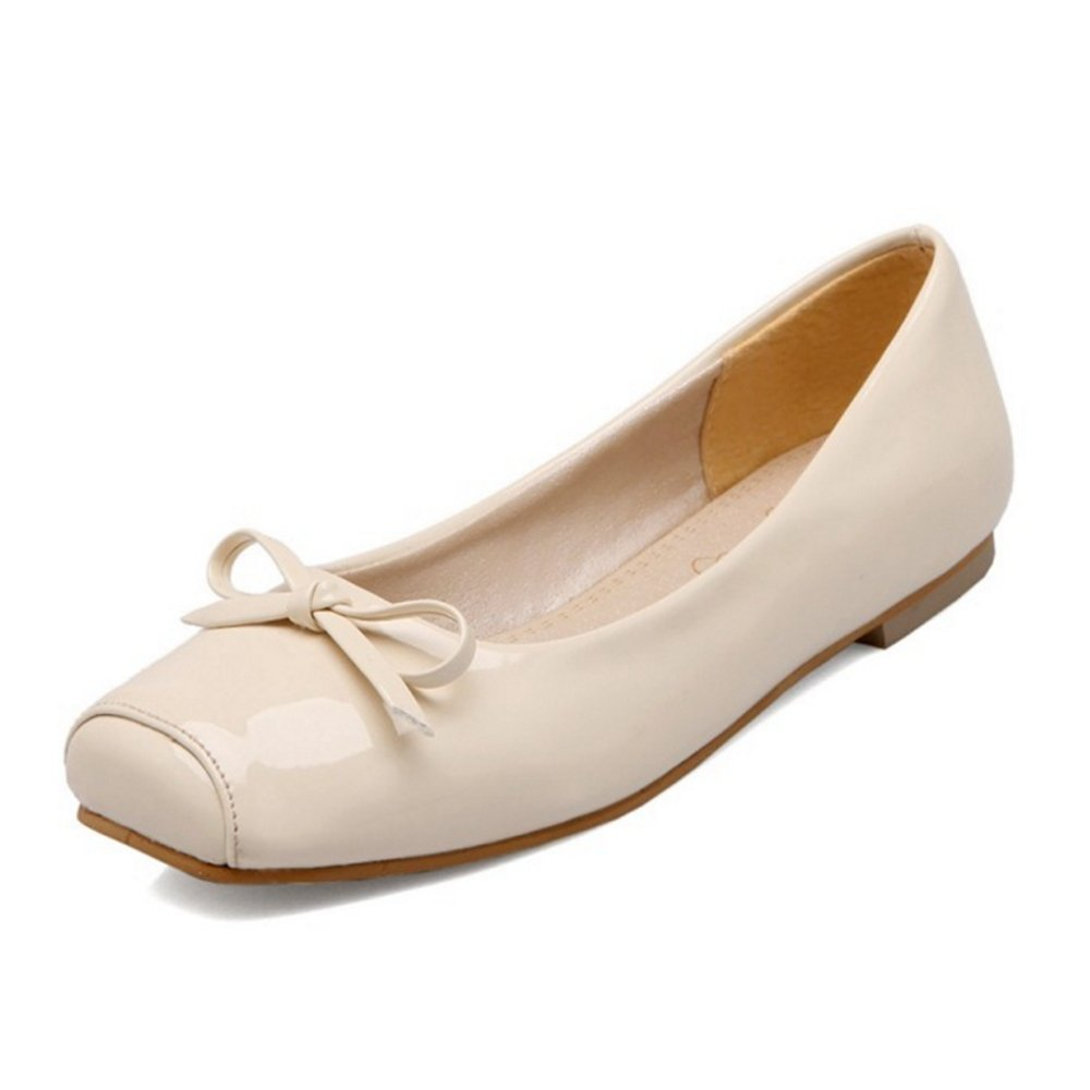 CuteFlats Women Flats with Square Toe and Casual Flats with Large B07FD25FBY 41 EU = 9.5 US|Beige