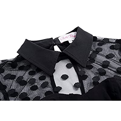 Women's 1950s Retro Polka Dots Lapel Collar Pencil Dress Cocktail Party Dresses: Clothing