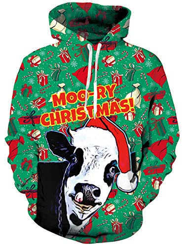 TUONROAD Mens Cool 3D Digital Printed Hooded Pullover Black White Cow White Red White Christmas Hat Green Gift Box Candy Atheletic Hot Awesome Hoodie Sweatshirt Outwear Designs with Big Pocket Front ()
