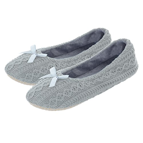 Grey Faith Slip Womens Non Autumn Ballet Fabric Slippers Warm Sole Padded Ballerina Lining Fleece Knitted Soft Cable Ladies wftBdtq