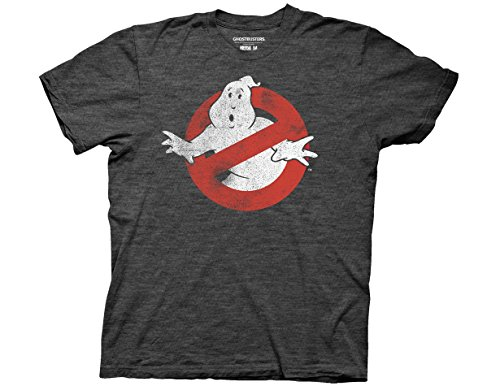 - Ripple Junction Ghostbusters Distressed No Ghost No Type Adult T-Shirt Large Heather Charcoal