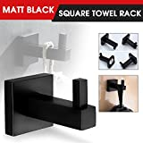 Matt Black Stainless Steel Square Towel Rack Holder Rail Tissue Roll Toilet Brush Holder Robe Hook