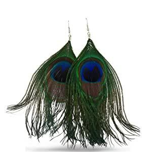 Natural Peacock Feather Earrings