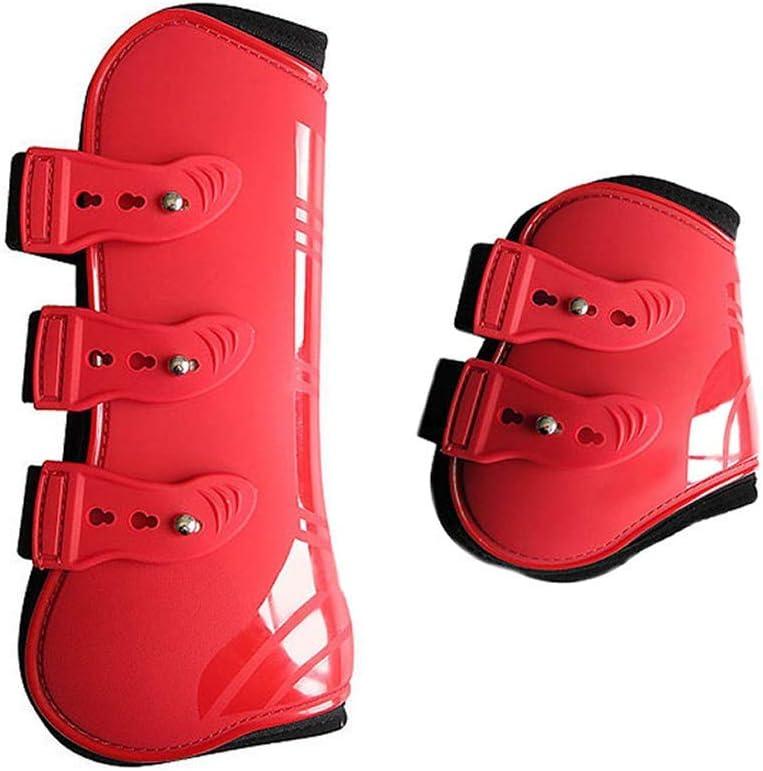 PU Leder Beinwickel Verstellbar Vorne Hind Bein Stiefel Reitsport Bein Schutz Reiter Sehnen Schutz Pferd Sprunggelenk Bandage MOOUK 4 STK Pferd Bein Neopren Stiefel