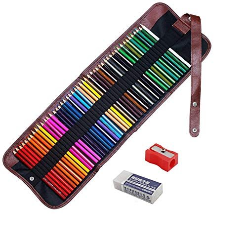Soucolor 48 colours Artist Grade High Quality Watercolour Pencils Set with Pencil Holder Sharpener Eraser