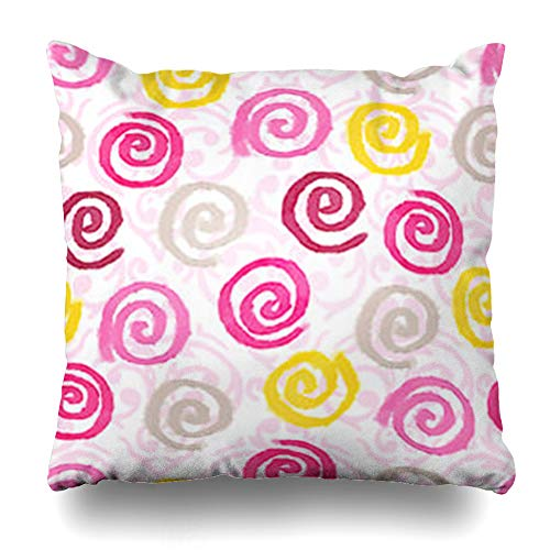 (Decor.Gifts Throw Pillow Covers Yellow Beige Artistic Watercolor Swirls Abstract Pink Blob Brush Circle Color Damask Cushion Case Square Size 18 x 18 Inches Home Decor Pillowcase )