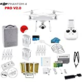 DJI Phantom 4 PRO V2.0 Quadcopter Drone with 1-inch 20MP 4K Camera KIT, 2 Total DJI Batteries + 32 GB Micro SD Card + Reader 3.0 + Snap on Prop Guards + Range Extender + Charging Hub