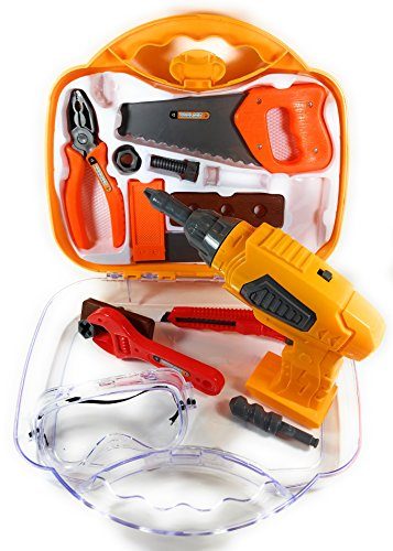 Kids Play Tool Set 15 Piece Construction Tools with Electronic Working Drill & Accessories, Safety Goggles, & Durable Carry Case | Portable Pretend Play Set | Great Birthday Gift for Boy or Girl (Pretend Play Garage)
