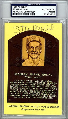 Stan Musial Signed HOF Plaque Postcard - Certified Genuine Autograph By PSA/DNA (Merchandise Musial Stan)