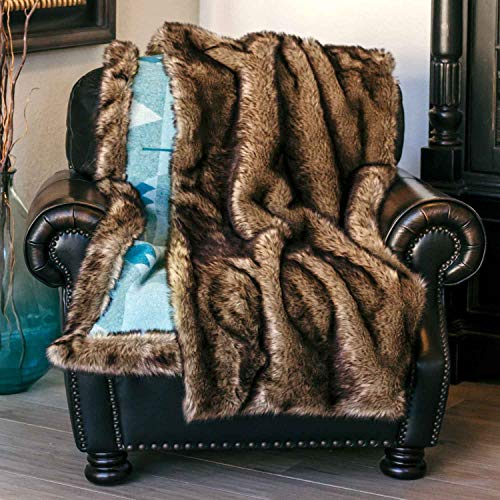 (Moonstone Comfort Soft and Fuzzy Faux Fur Blanket with Button Straps and Storage Pocket, 54 Inches x 64 Inches Lightweight Faux Wolf Fur Throw Blanket)