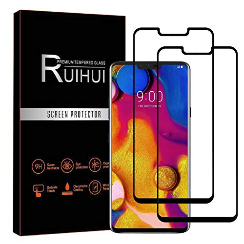 [2-Pack] LG V40 ThinQ Screen Protector,RUIHUI Premium 9H Glass Dustfree HD Clear Anti-Scratch Bubble Free Case Friendly Tempered Glass for LG V40 ThinQ 2018/LG V40[Lifetime Replacement Warranty]