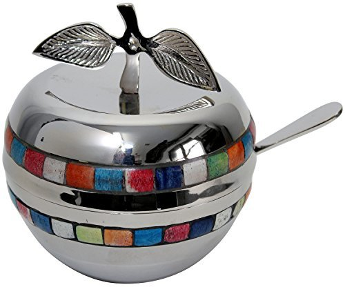 Nickel Plated Apple Shaped Honey Dish with Glass Insert in Multicolor