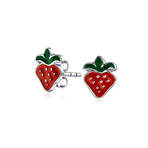 Bling Jewelry Strawberry Summer Fruit Enamel Kids Stud earrings 925 Sterling Silver 9mm duVszhPLvU