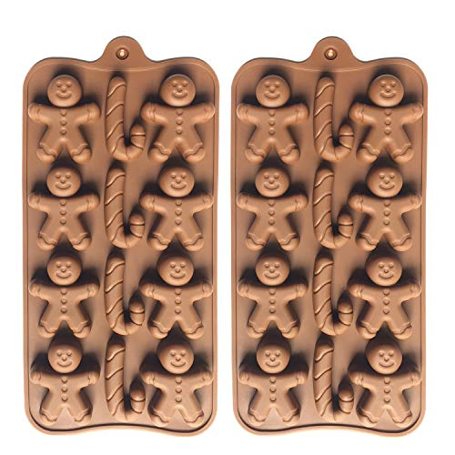 2pcs Christmas Silicone Molds for Baking Jelly Soap, Candy Cane, Gingerbread Men Chocolate Candy Mold (2 Shapes)