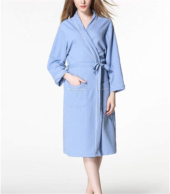 Kimono Batas Algodón Ligero Bata Corta Tejido Albornoz Ropa de Dormir Suave con Cuello en V para,Par algodón Suave Azul Ribete M: Amazon.es: Hogar