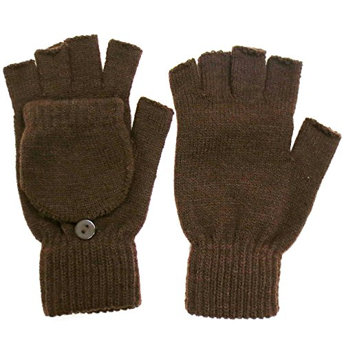 Winter Fingerless Gloves with Flap Cover Mitten Gloves, 56_Brown
