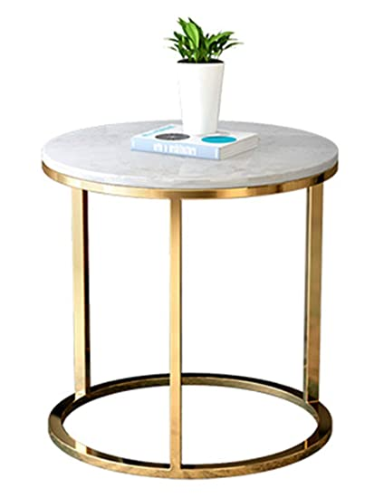 Amazon.com: Coffee Table/Side Table, Marble Table Top, Modern Home Living  Room Creative Furniture, Round Tea Table, Wrought Iron Table Legs, ...