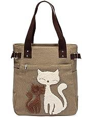 Women Canvas Handbag Kaukko Shoulder Bag Cat Big Tote Bag