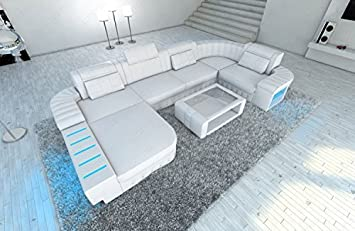 diseño sofá de cuero BELLAGIO forma de U con iluminación Led ...