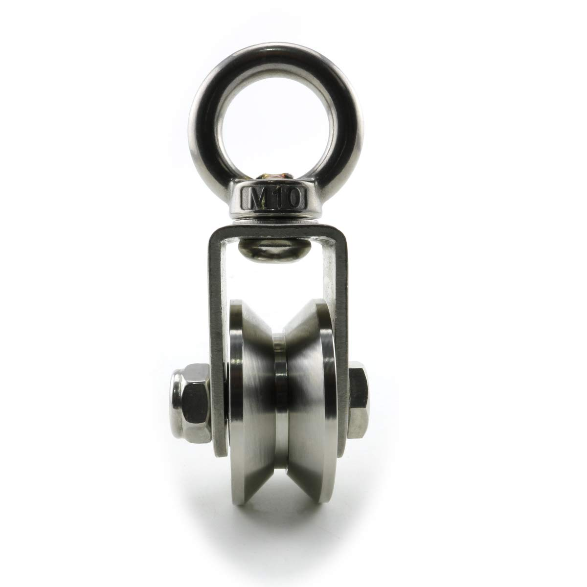 Heyous 1-Pack V Type Swivel Pulley 304 Stainless Steel Duplex Bearing Super-Silent Detachable 360 Degree Rotation Heavy Duty Traction Wheel