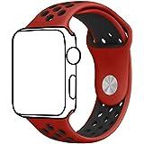 Ontube 42MM Soft Silikon Ersatzband mit Bel¨¹ftungsl?chern f¨¹r Apple Watch Armband Serie 3 Serie 2, Serie 1, Sport, Edition, M/L Rot/schwarz