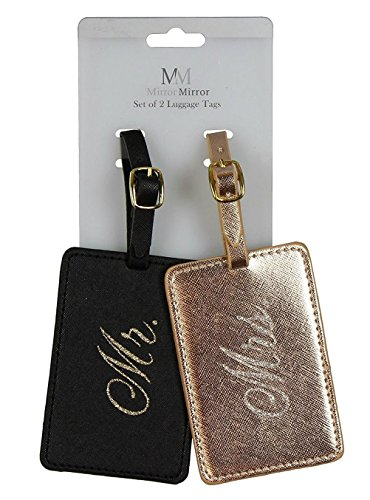 Oakstree Gifts Black and Metallic Bronze Coloured Mr & Mrs Luggage Tags by Oaktree Gifts