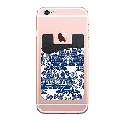 Cellcardphone Blue Willow Chinoiserie Porcelain Inspiration Custom Phone Card Holder, ID Credit Card Wallet Phone Case Pouch Sleeve Pocket Compatible with Most of Smartphones(iPhone/Android)