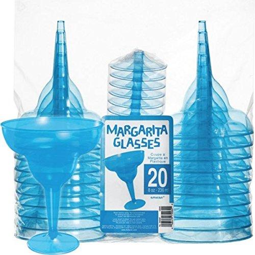Amscan Hawaiian Summer Luau Transparent Margarita Glass (20 Piece), Blue, 4.5 x 11.25