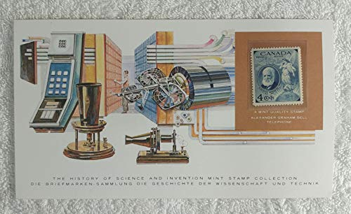 Alexander Graham Bell - Postage Stamp (Canada, 1947) & Art Panel - The History of Science & Invention - Franklin Mint (Limited Edition, 1986) - Telecommunications, Inventor of the Telephone