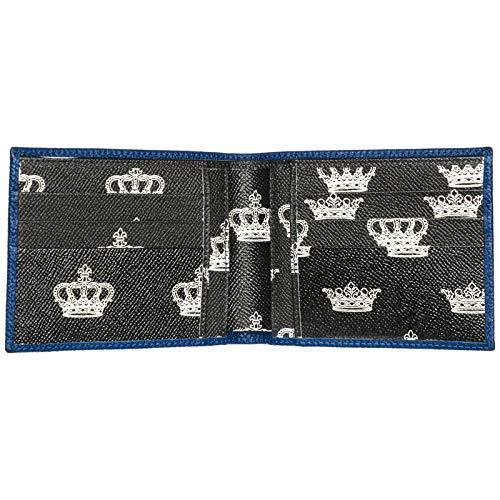 Fold Bi Logo Dolce Gabbana Blue Print amp; Crown Pebbled Plaque Wallet Leather qXvpzxX4w