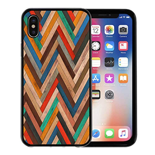 Semtomn Phone Case for Apple iPhone Xs case,Colorful Pattern Wood Parquet Herringbone Clipart Chevron Arrow Floor for iPhone X Case,Rubber Border Protective - Clipart Arrow