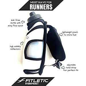 Fitletic HydraPocket - 12 Ounce BPA Free Handheld Sports Water Bottle with Storage Pouch, Black/Silver